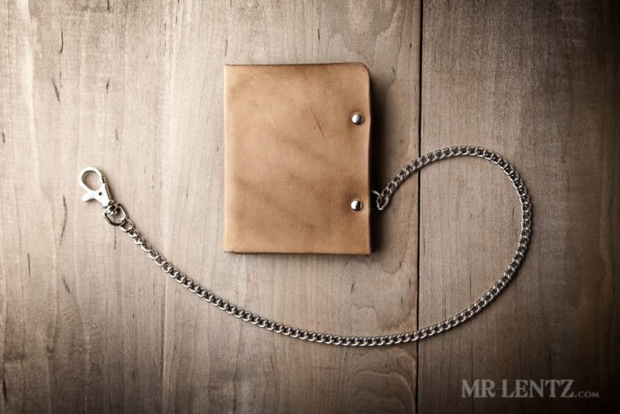 mens leather chain wallet