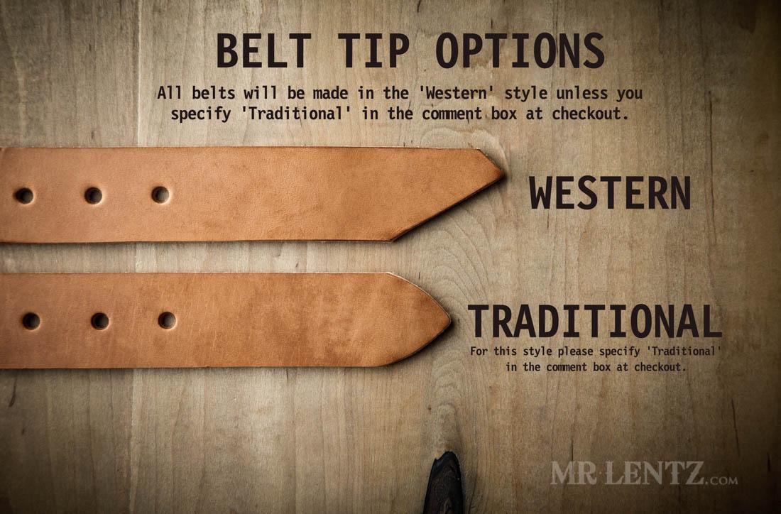 leather belt tip options