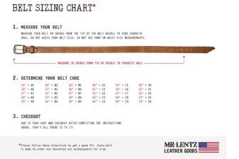 leather belt measurement chart