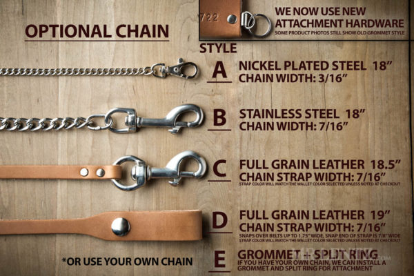 wallet chain options for leather bifold