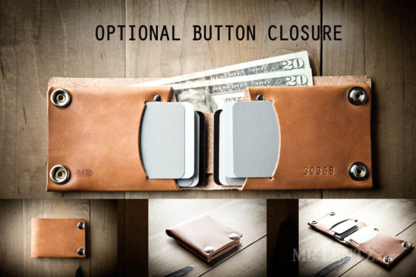 Optional Button Closure for mens leather wallet