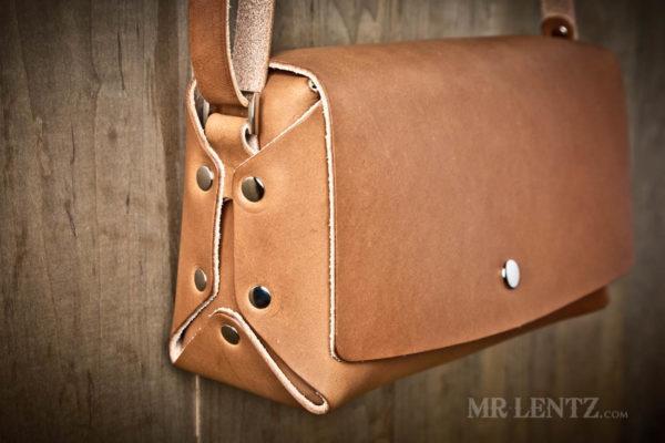 handmade crossbody purse in brown
