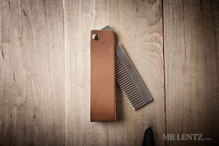 steel comb and leather case