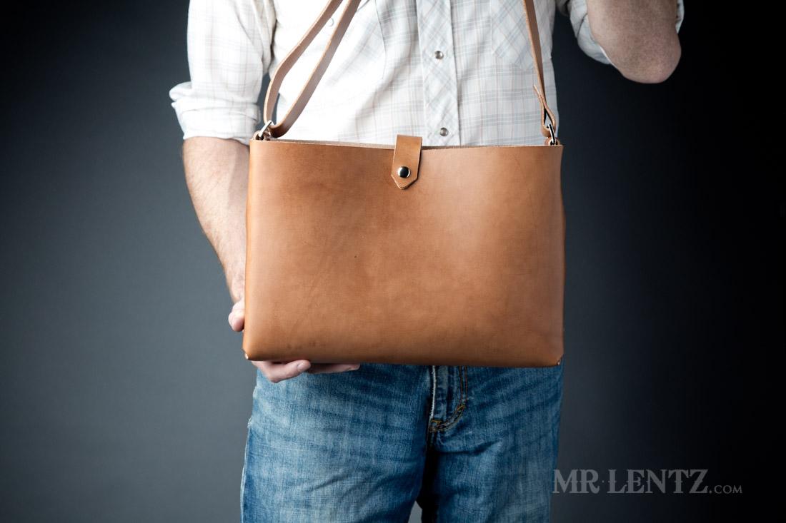handmade leather tote bag