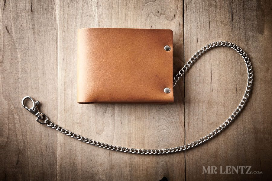 brown leather chain wallet
