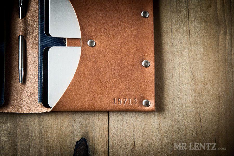 stamped leather passport wallet