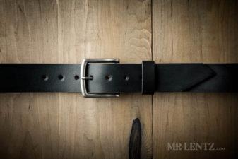 black wide leather belt