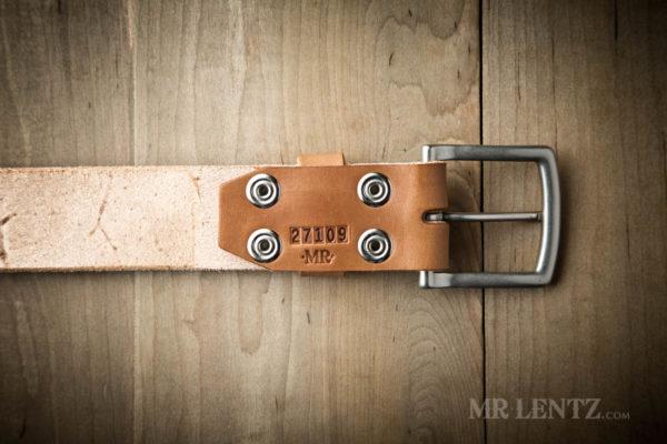 back of wide leather belt