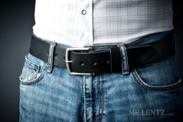 black wide leather belt on pants