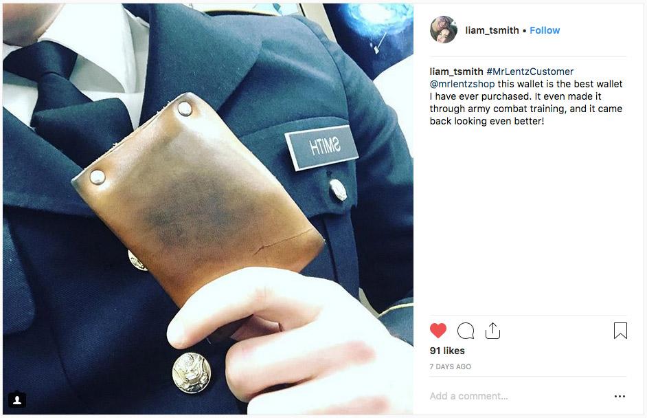 a mr lentz wallet from a customer