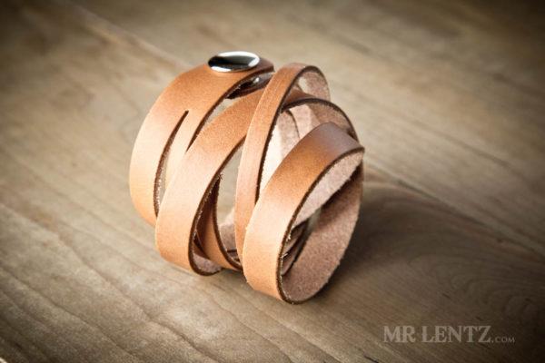 brown split wrap wrist cuff