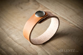 brown leather cuff with snap