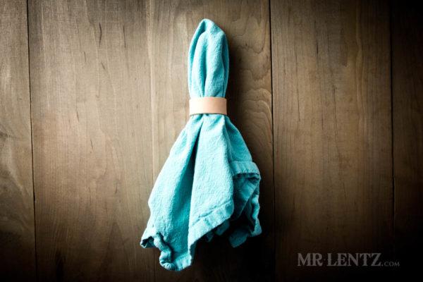 tan leather napkin ring