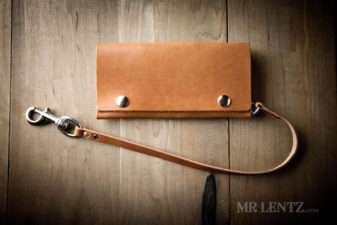 brown trucker wallet with leather chain