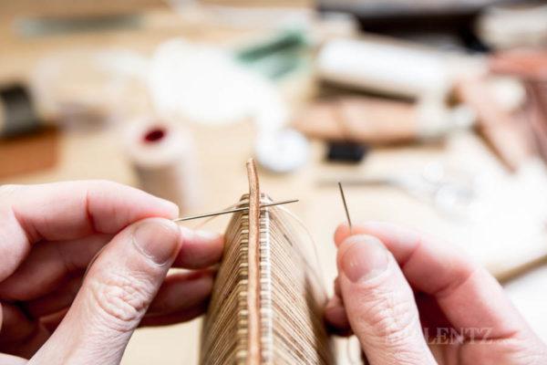 sewing leather goods using the basic saddle stitch