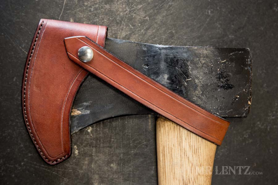 how to make a leather axe sheath